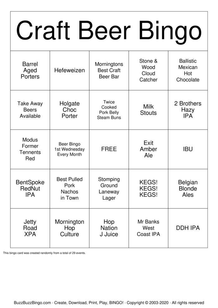 Download Free Craft Beer Bingo  Bingo Cards