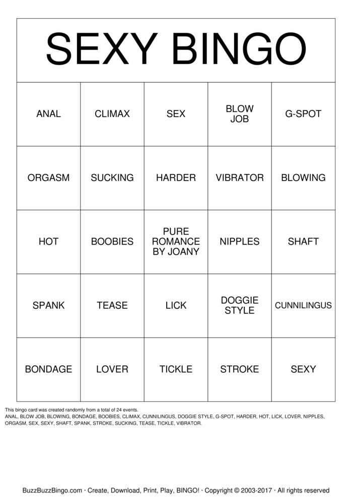 DIRTY BINGO Bingo Card
