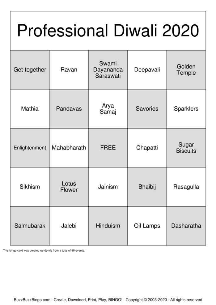 Download Free Diwali Bingo Bingo Cards