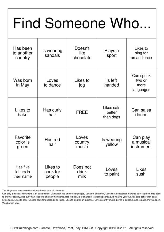 Download Free GROUP BINGO Bingo Cards