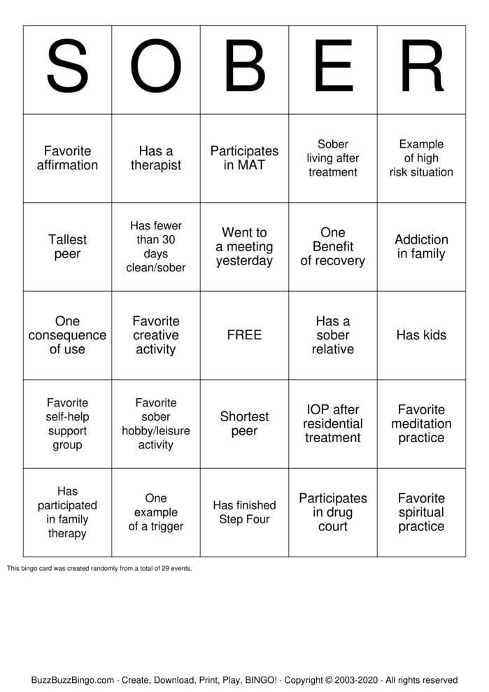 Download Free SOBER Bingo Cards