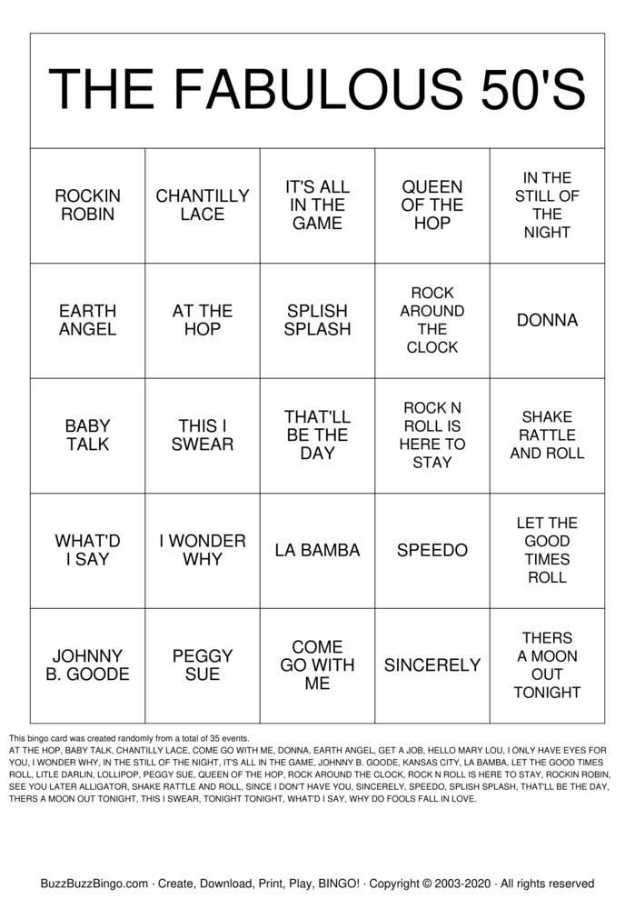 Download Free The FABULOUS 50'S Bingo Cards