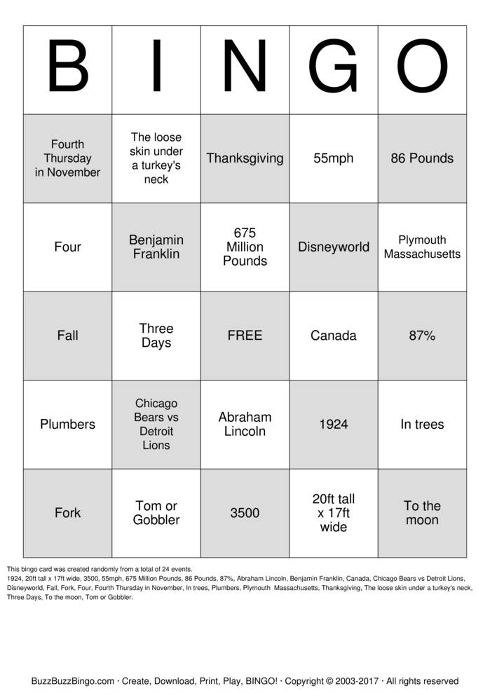 Download Free Turkey Trivia Thanksgiving Bingo Cards