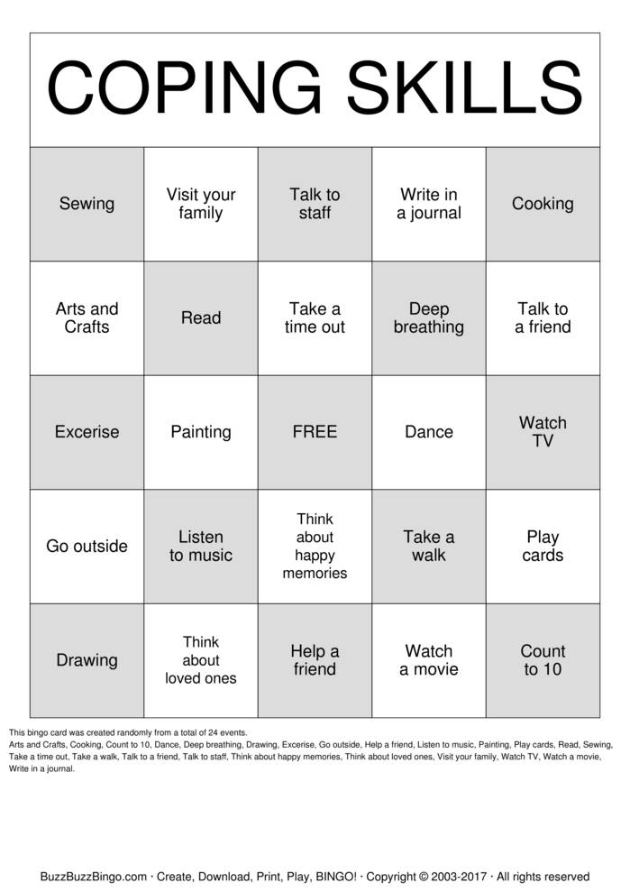 Download Free Coping Skills Bingo Cards