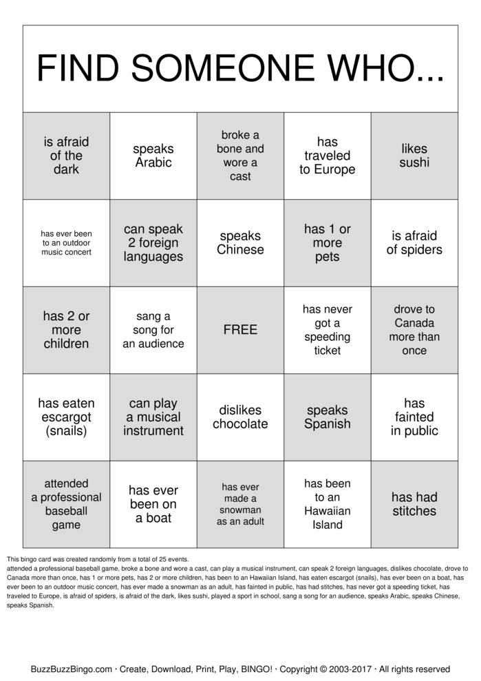 Getting to Know you! Bingo Cards to Download, Print and