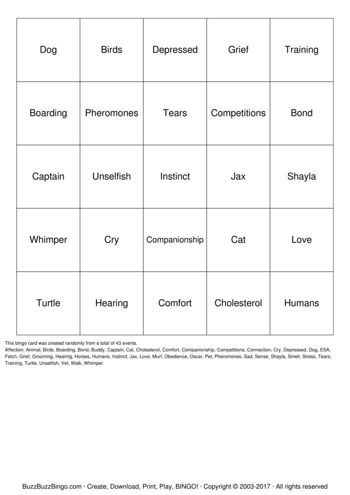 Download Free Pets and Grief Bingo Cards