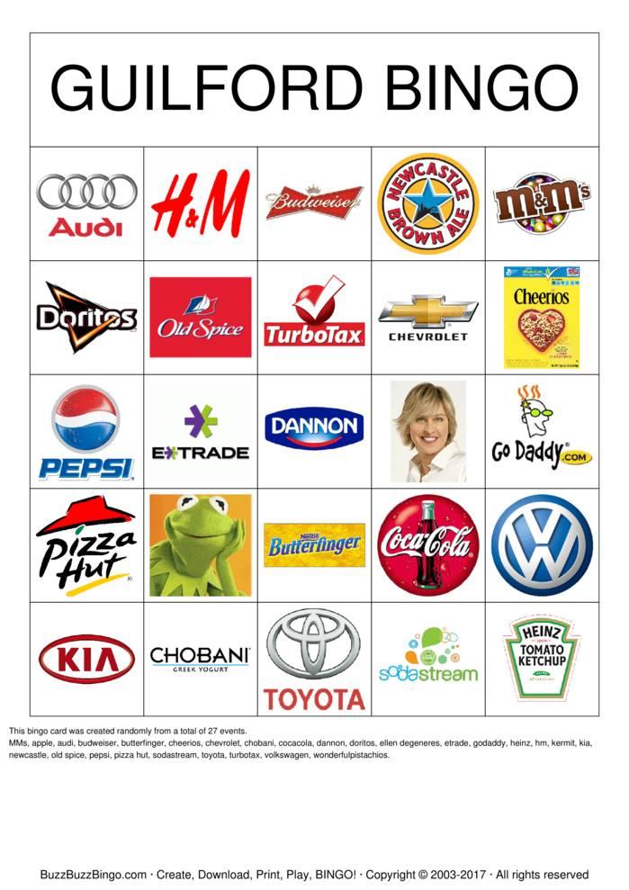 Download Free Superbowl Commercials Images Bingo Cards