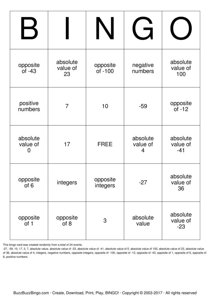6th grade Math Bingo Cards to Download, Print and Customize!