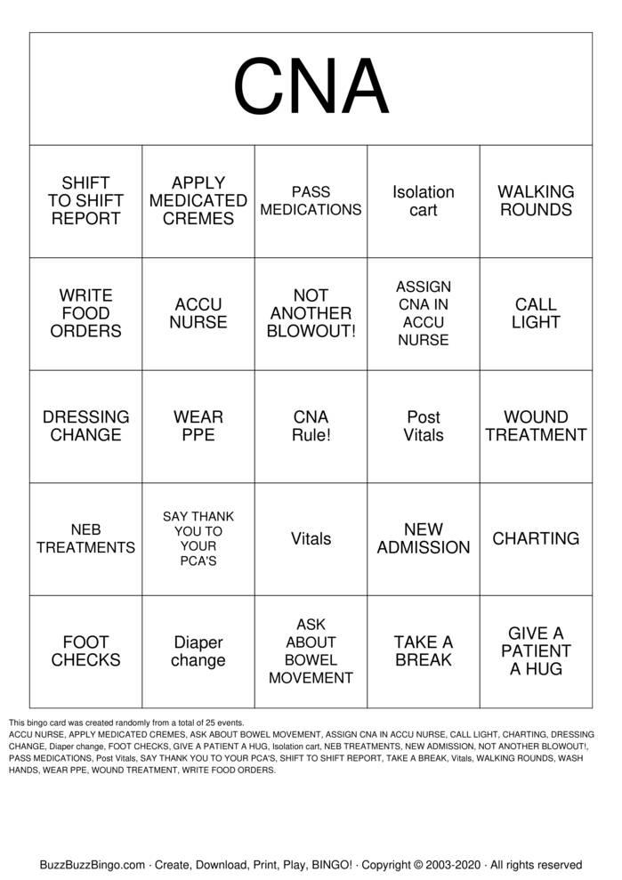 Download Free CNA Bingo Cards