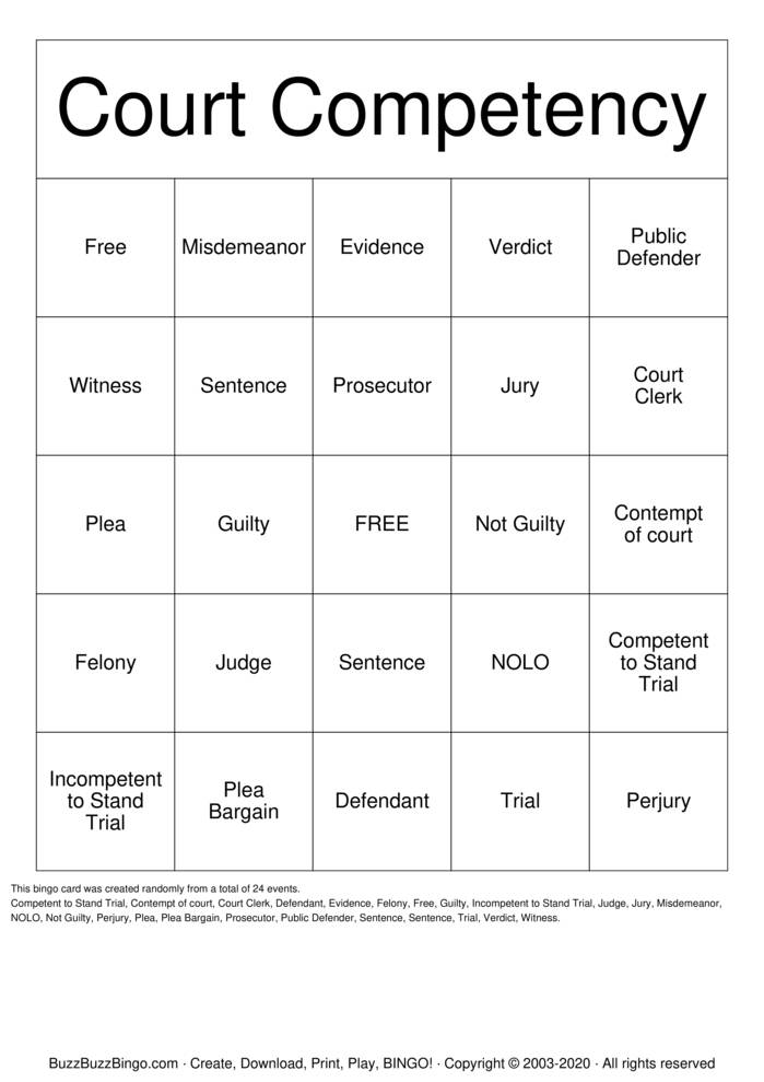 Download Free Court Competency Bingo Cards