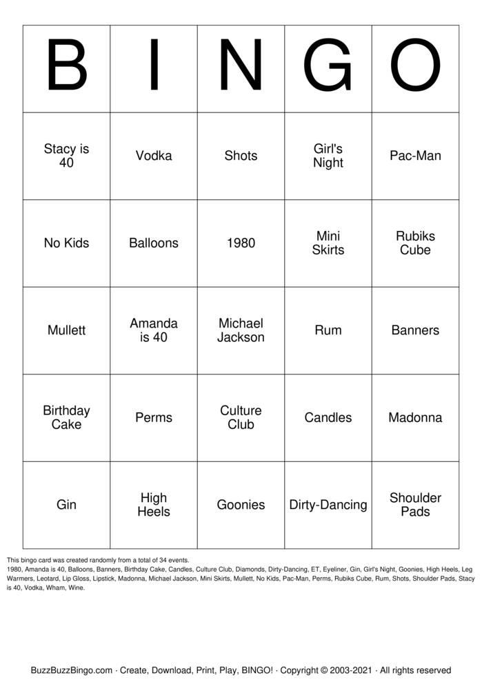 Download Free Girls Night In Bingo Cards