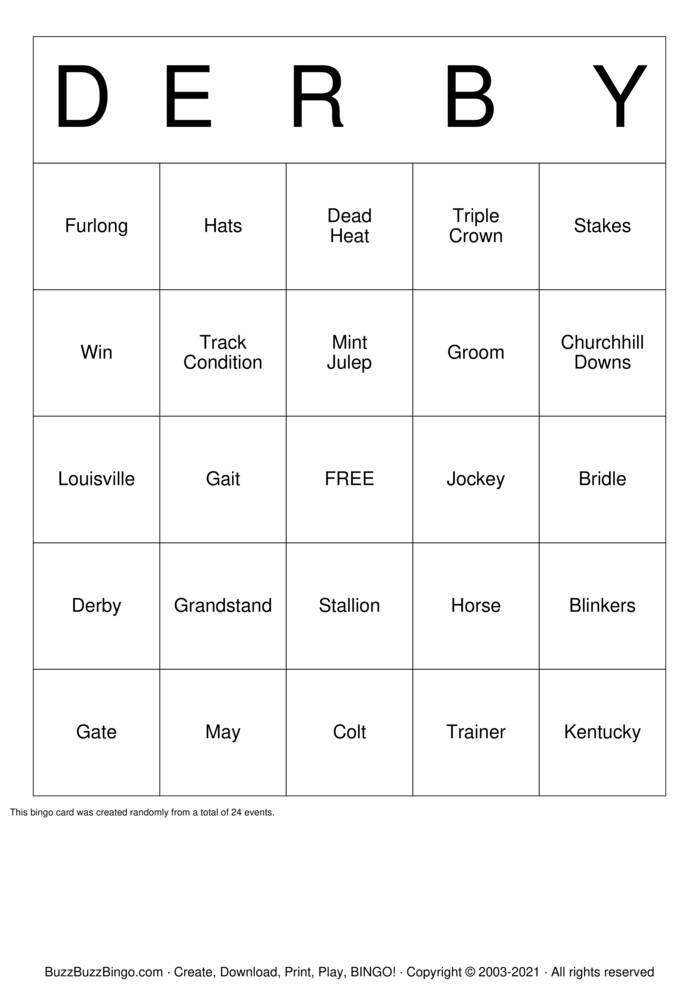 Download Free Kentucky Derby Bingo Cards