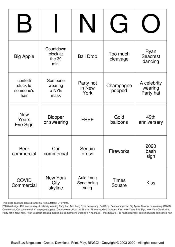 Download Free New Years Eve Bingo Cards
