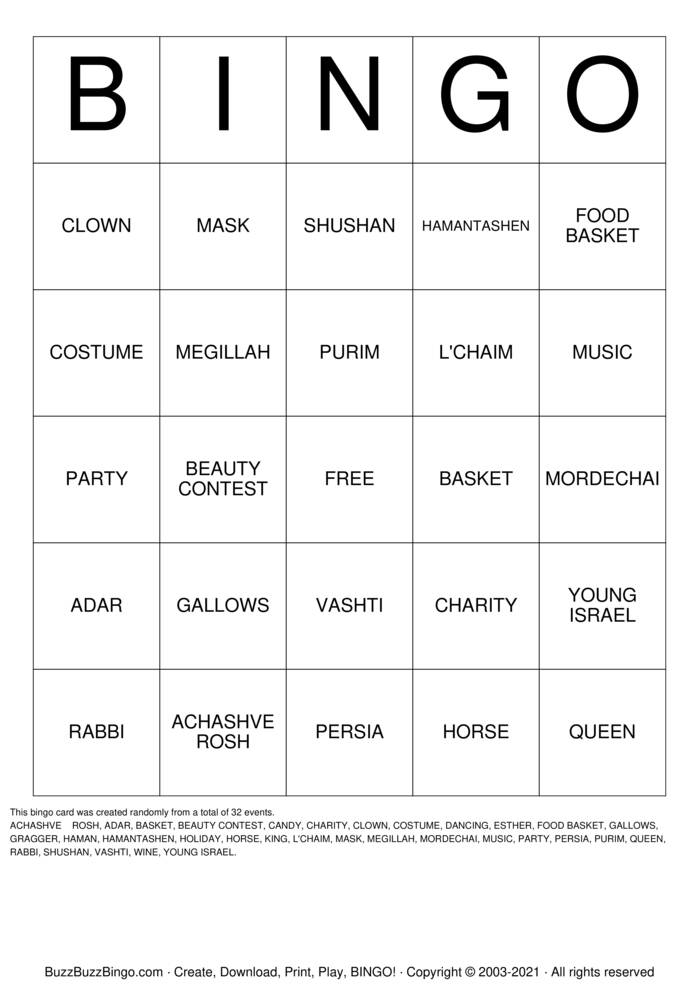 Download Free PURIM and Valentines Day  Bingo Cards