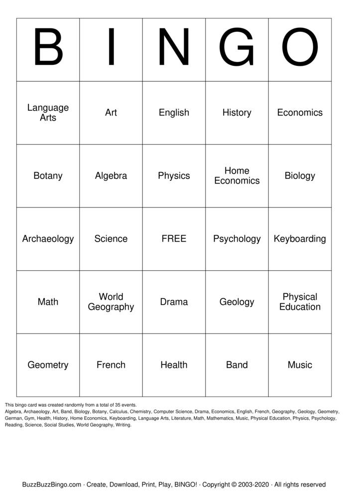 Download Free School Subjects Bingo Cards