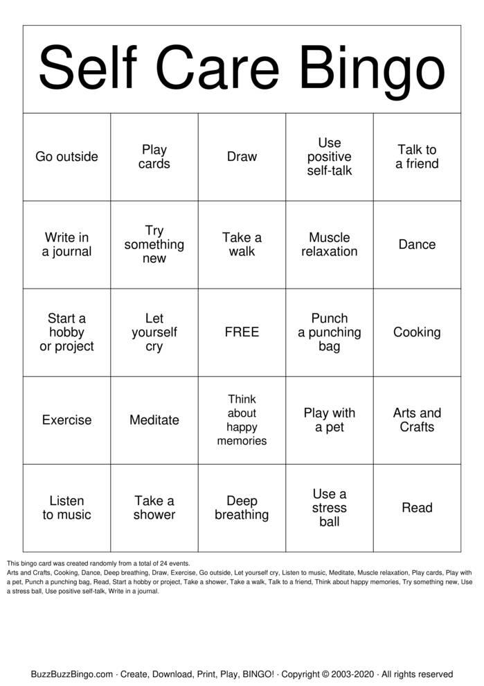 Download Free Self-Care Bingo Bingo Cards