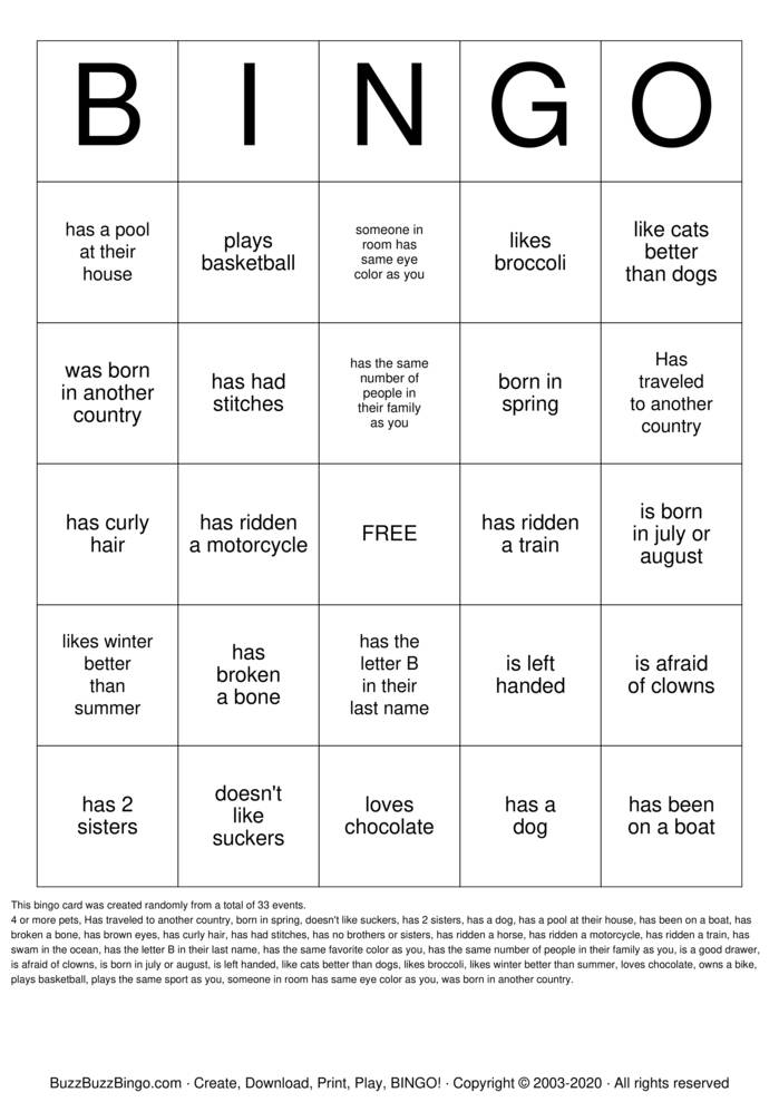 Download Free Social  Bingo Cards