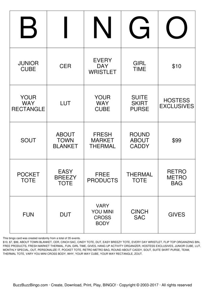 Download Free Thirty One Bingo Cards