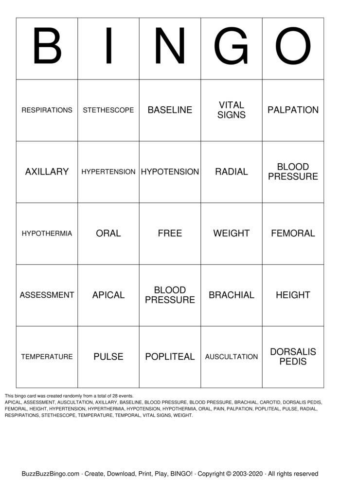 Download Free Vital Sign BINGO Bingo Cards