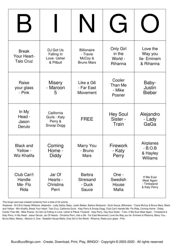 Download Free 10's Sick Beats Bingo Cards