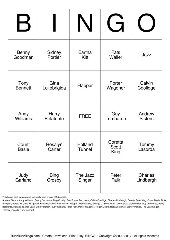 Download Free 1927 Bingo Bingo Cards
