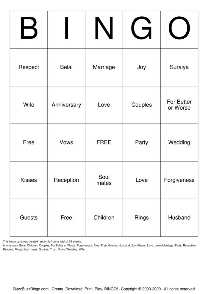 Download Free Anniversary Bingo Bingo Cards