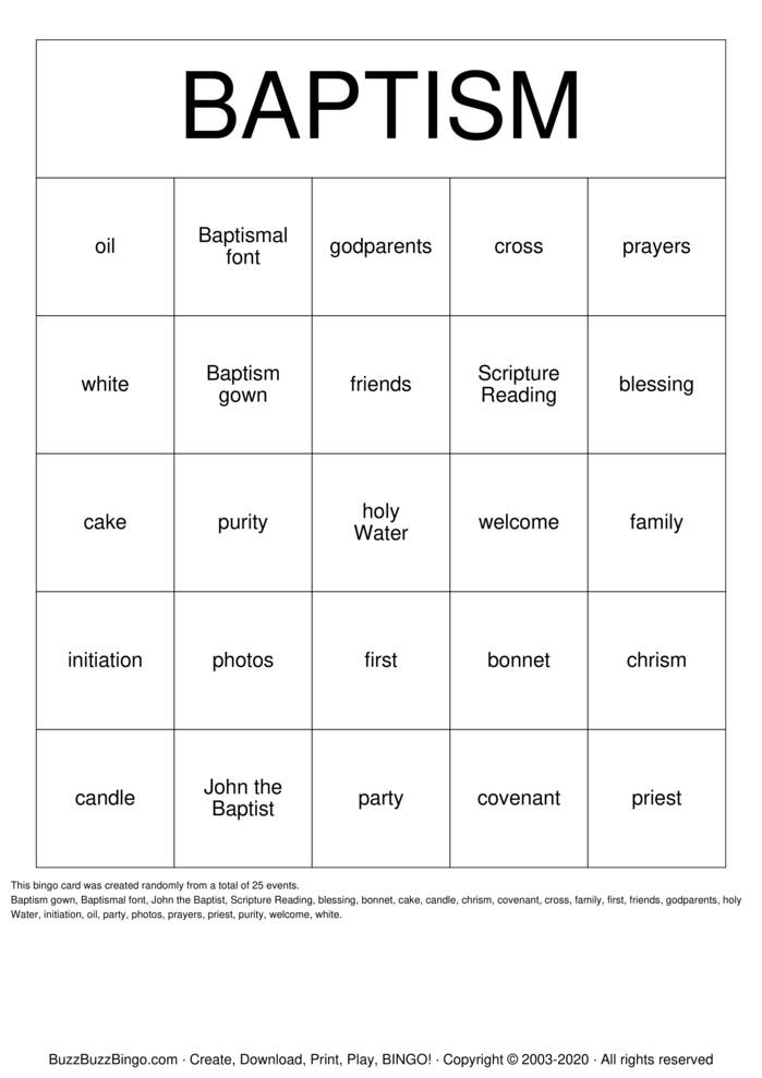 Download Free Baptism Bingo Cards
