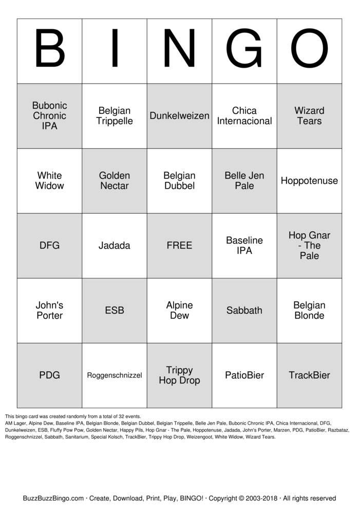 Download Free Bier Brewery Bingo Bingo Cards