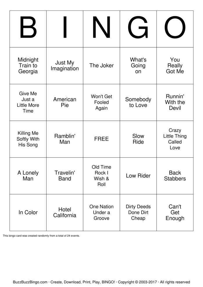 Download Free Country music Bingo Cards