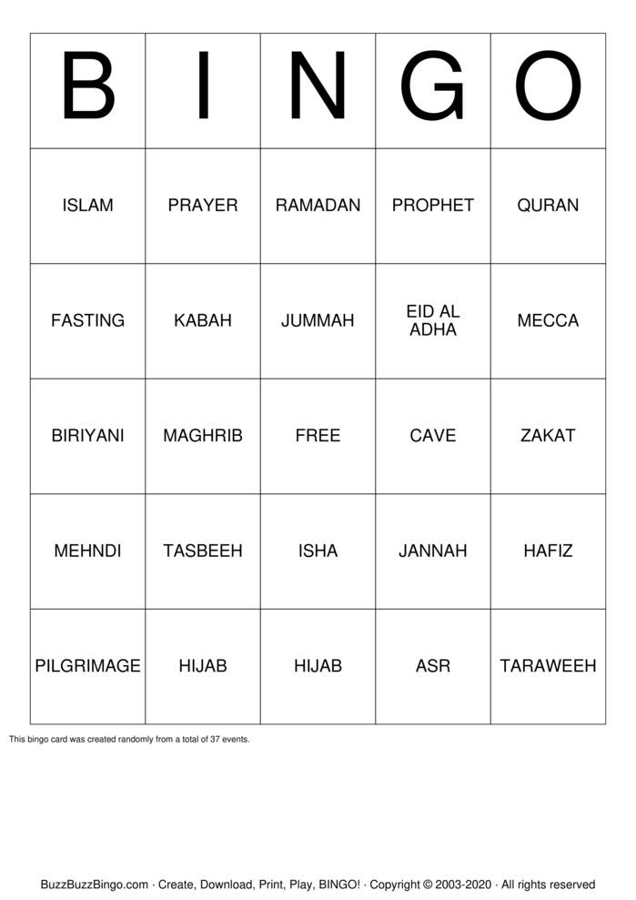Download Free Islam Bingo Cards