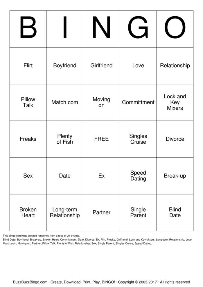 Download Free SINGLES BINGO Bingo Cards