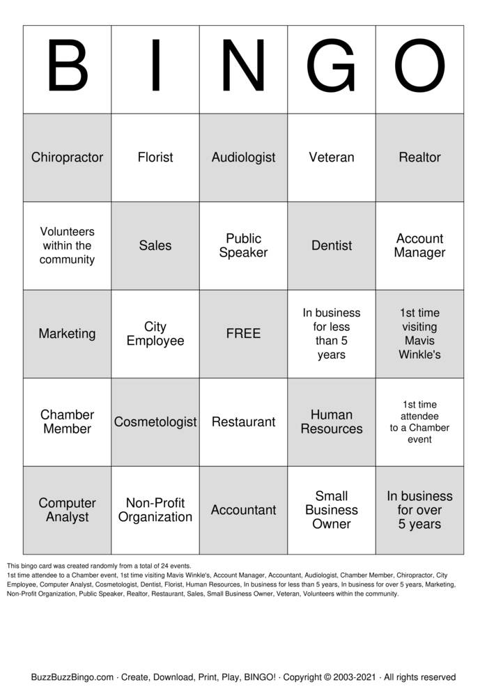 Download Free TWIN After Hours Bingo Cards