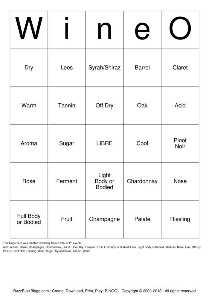 Download Free WineO-Bingo Bingo Cards