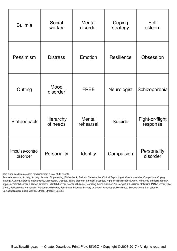 Download healthy mental health habits Bingo Cards