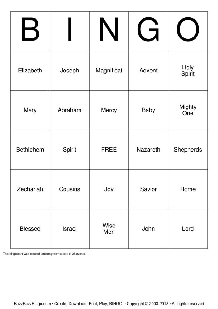 Download Free Advent Bingo Cards