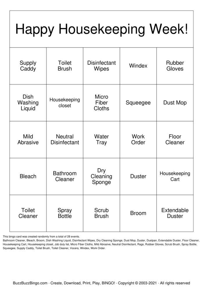 Download Free Environmental Services Week Bingo Cards