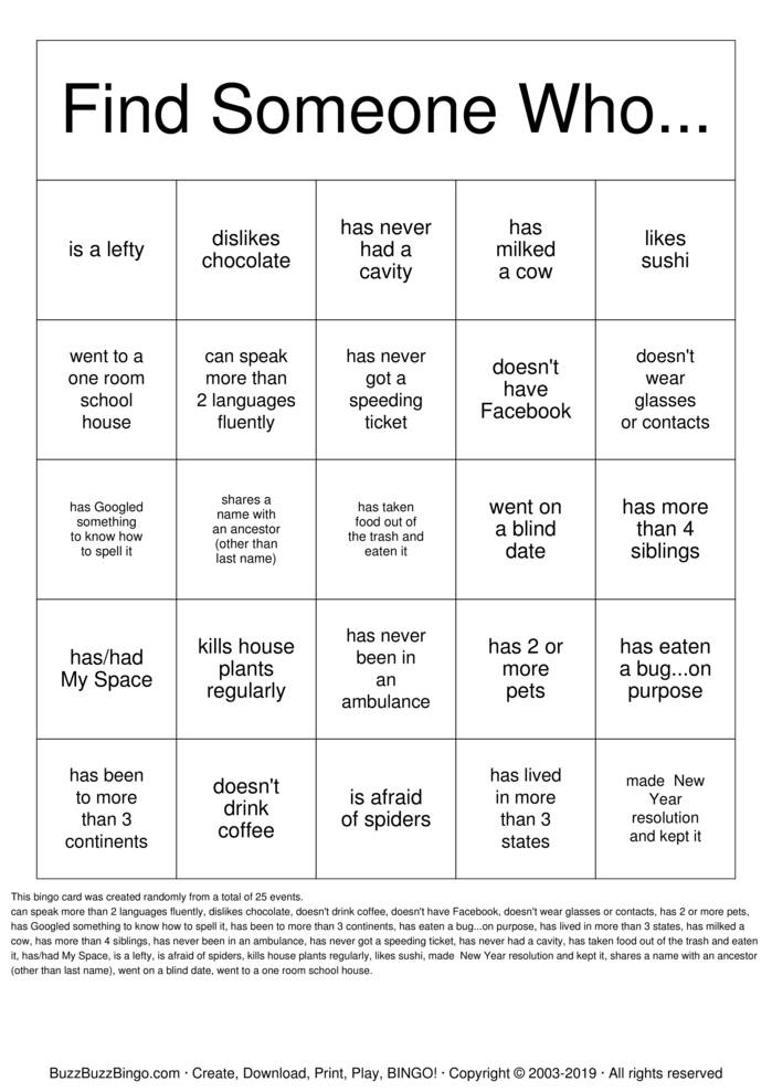 Find someone who    Bingo Cards to Download, Print and