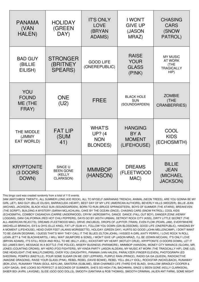 Download Free MUSIC Bingo Cards