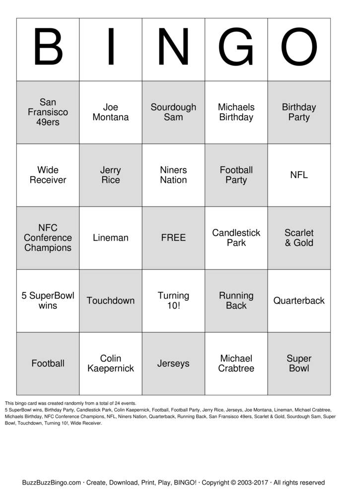 picture about Free Printable Football Bingo Cards identify Michaels Soccer Occasion Bingo Playing cards in direction of Obtain, Print and