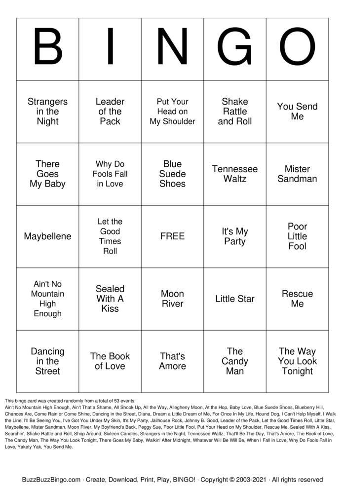 Download Free Musical Bingo :) Bingo Cards