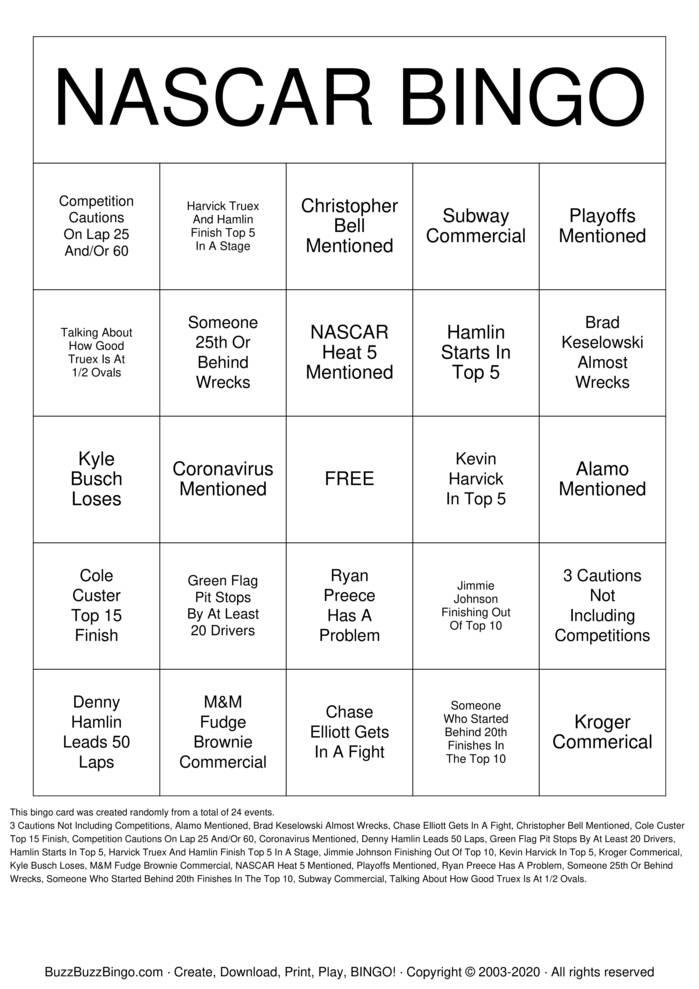 Download Free NASCAR Bingo Cards