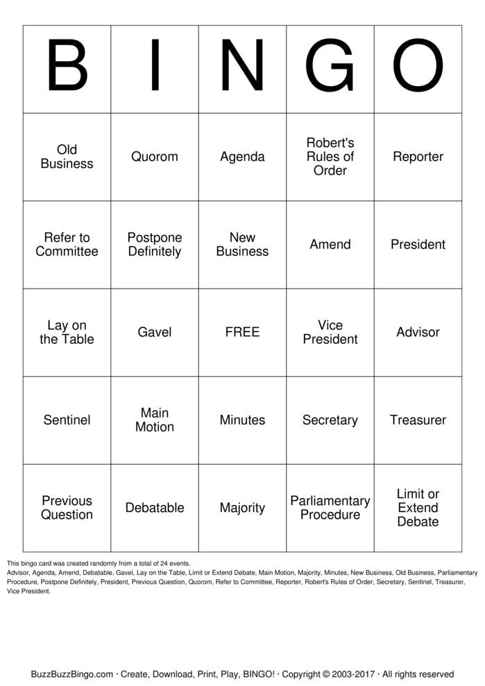 Download Free Parliamentary Procedure Bingo Cards