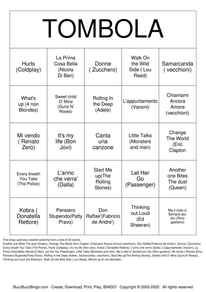 Download Free Rock 'N' Roll Bingo Cards