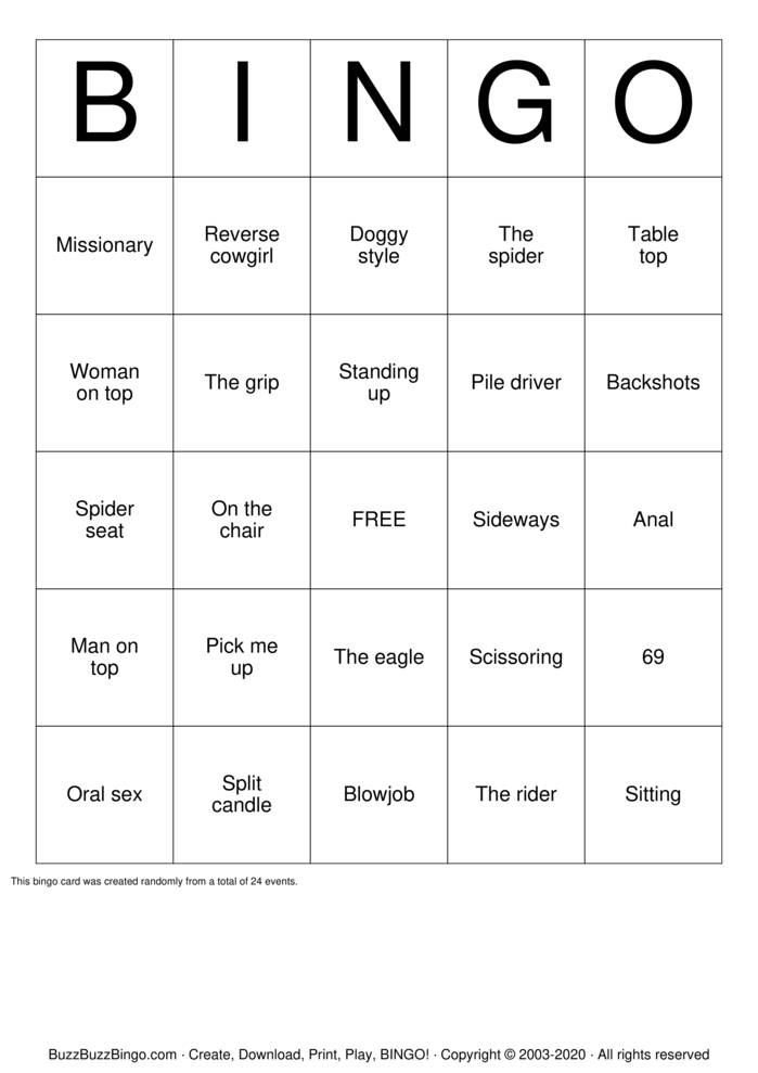 Download Free SEX positions Bingo Cards