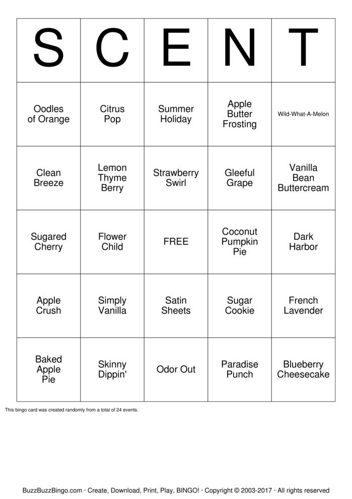 Download Free Scentsy Scent Bingo Cards