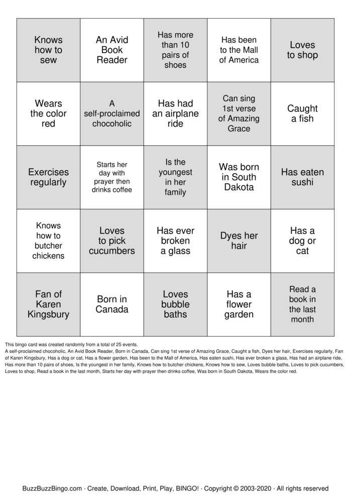 Download Free WOMEN'S MINISTRY BINGO Bingo Cards