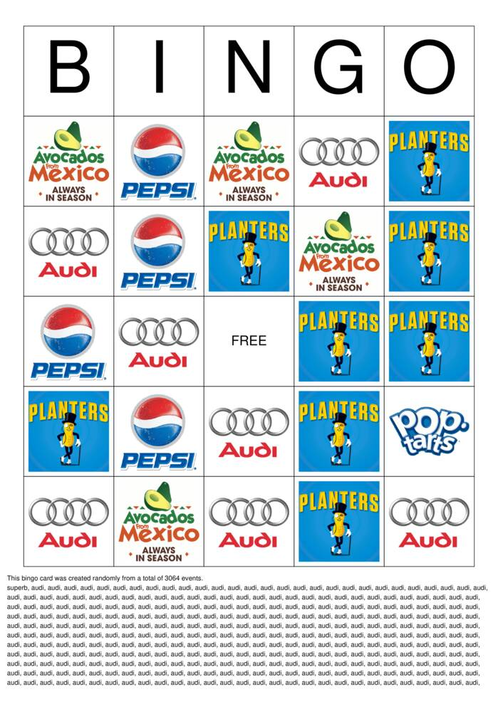 Download Free 2020 Superbowl Commercial Logos Bingo Cards