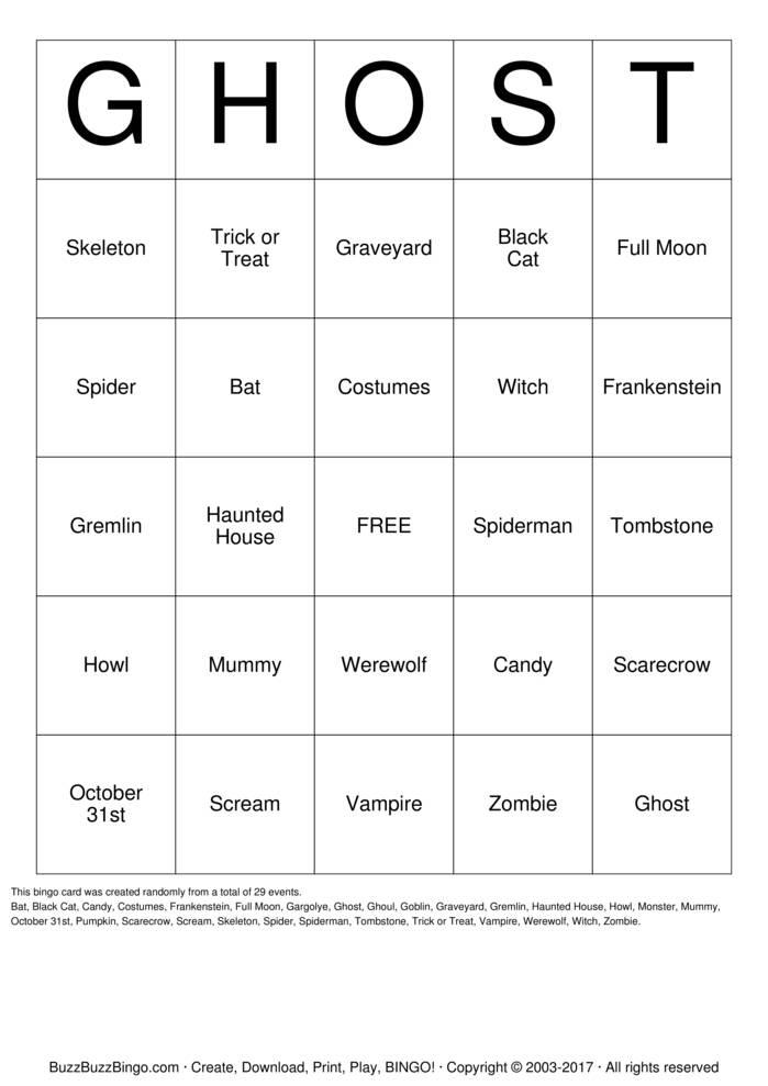 Download Free Halloween Bingo Cards