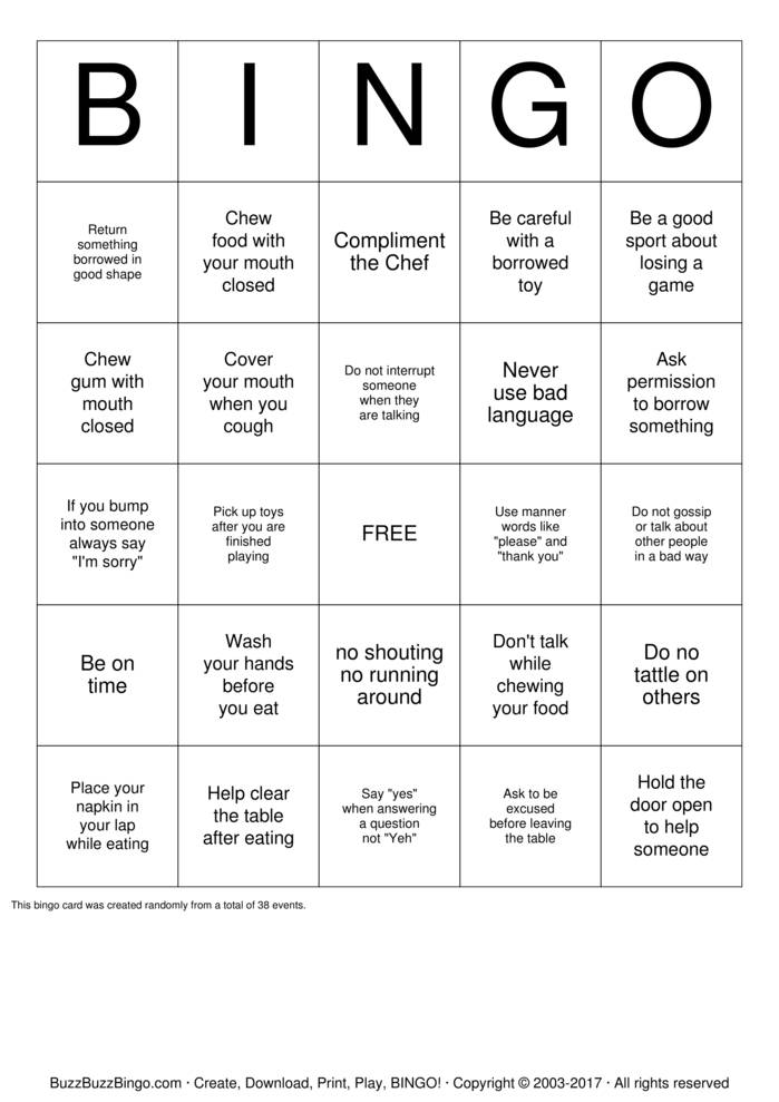 Download Free Manners B-I-N-G-O Bingo Cards