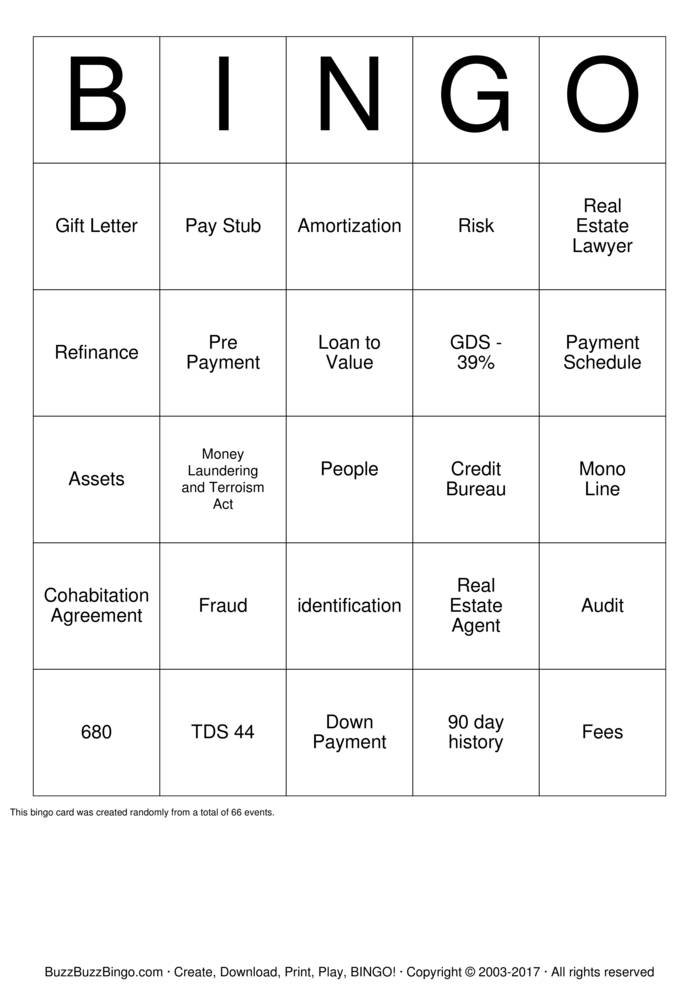 Download Free Mortgage  Bingo Cards